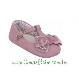 Sapatilha Ortopasso com Laço Veludo - Bebê Meninas